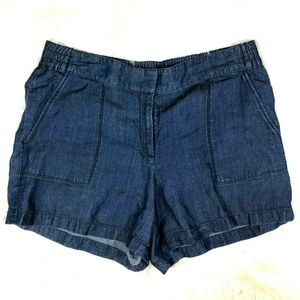Ann Taylor Chambray Denim Shorts Linen Blend